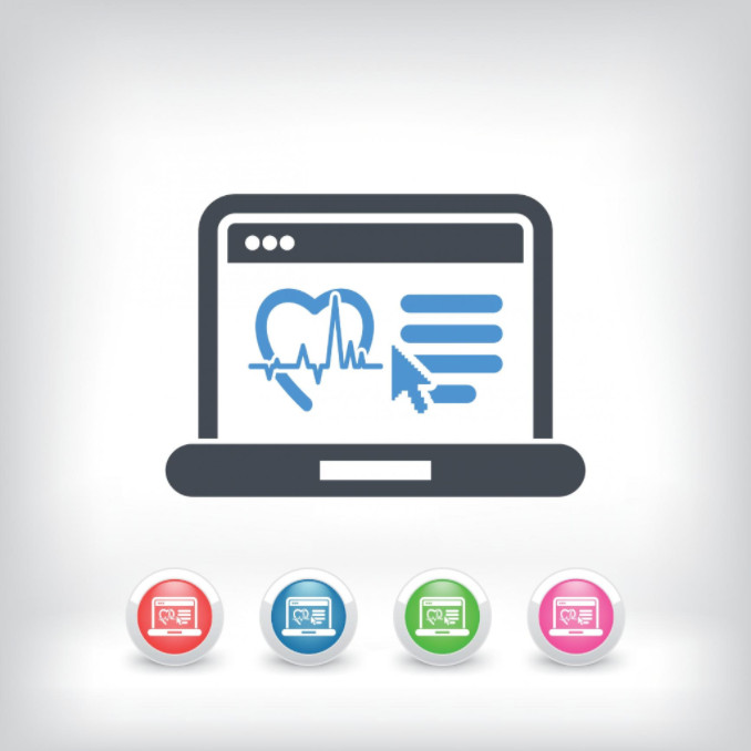 Animated laptop with medical logo: SEOMedical Medical Copywriting Blog