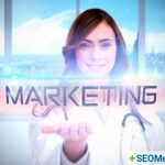 "portrait of female nurse with the word ""marketing"" overlaid"